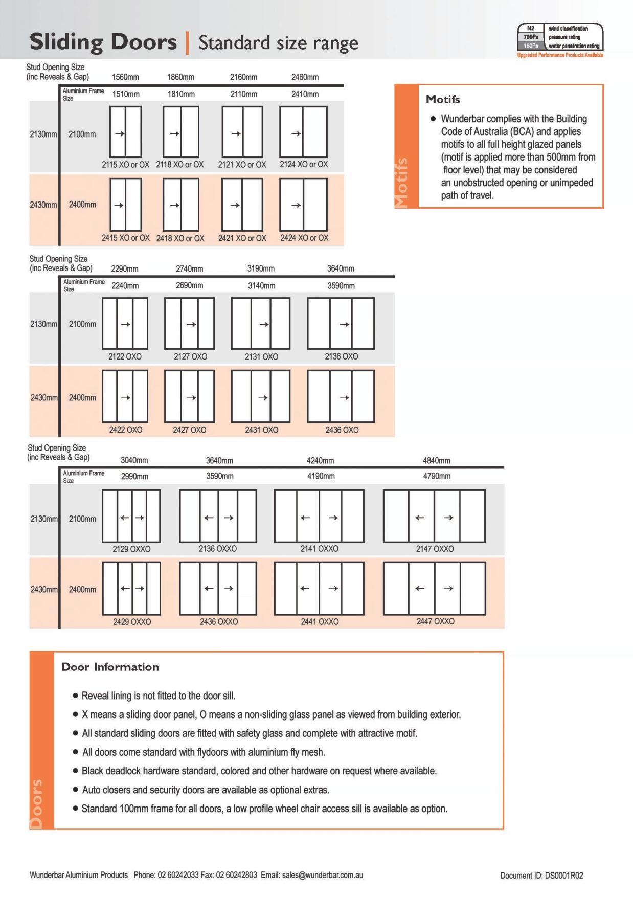 Glass Sliding Doors Standard Sizes