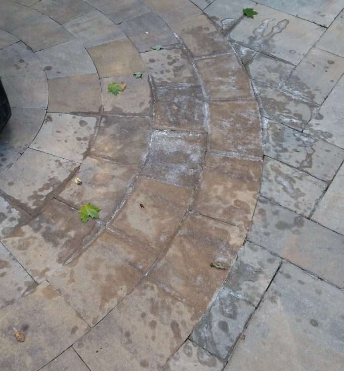 help removing major wax stain from patio stones diy