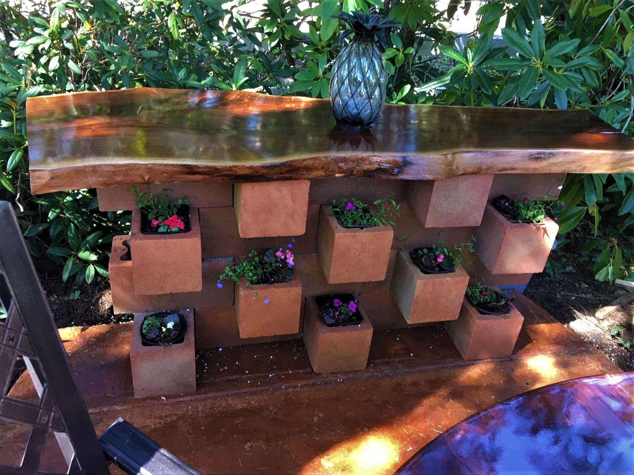 I stained the cinder blocks with 2 colors of stain. Walnut ...