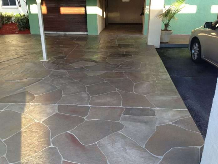 pin by debby on beachy decor paint concrete patio