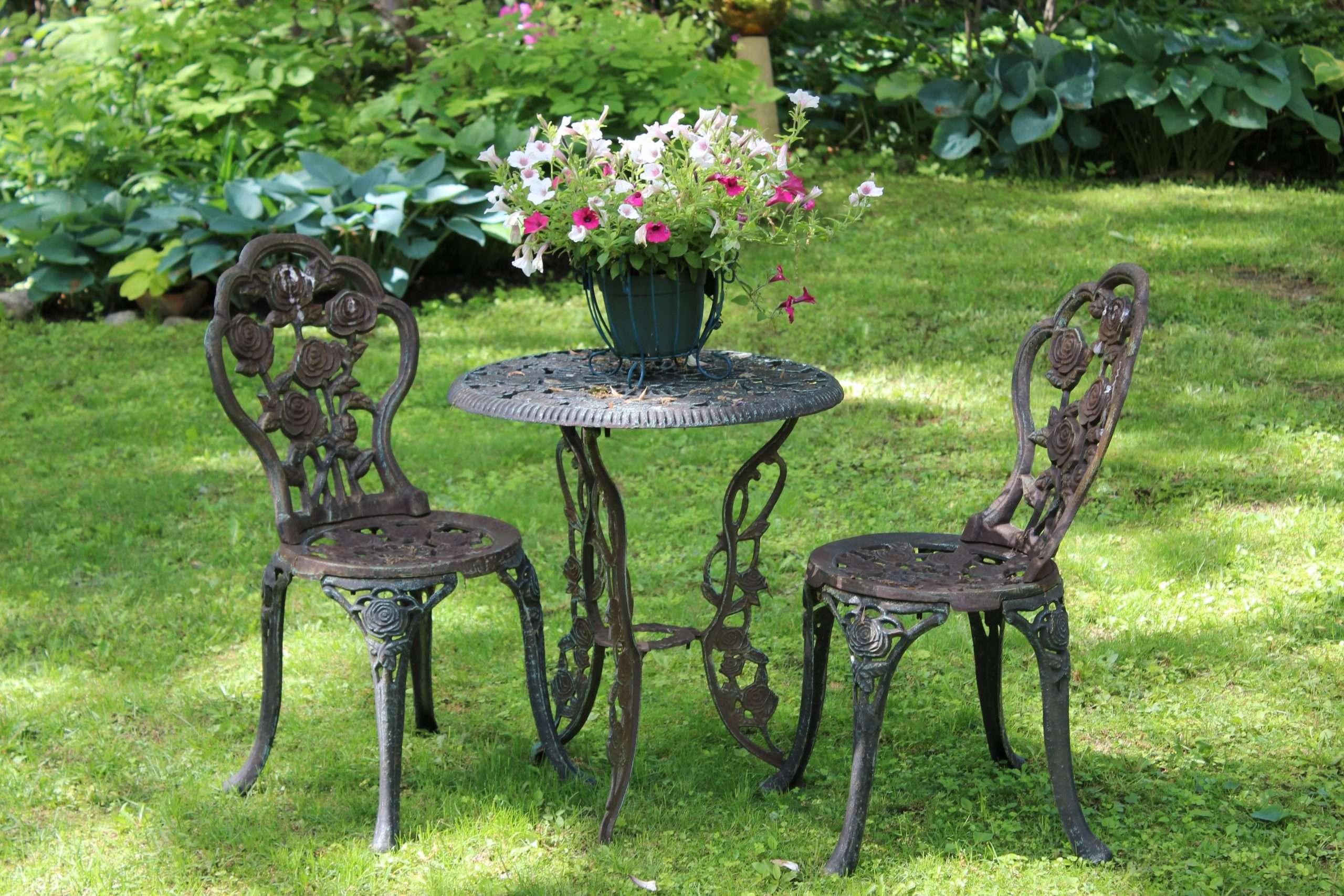 Vintage Cast Iron Patio Furniture Antique Garden Mid ...