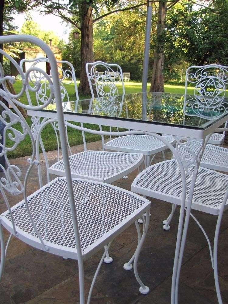 Vintage Mid Century Wrought Iron Patio Set Six Chairs ...