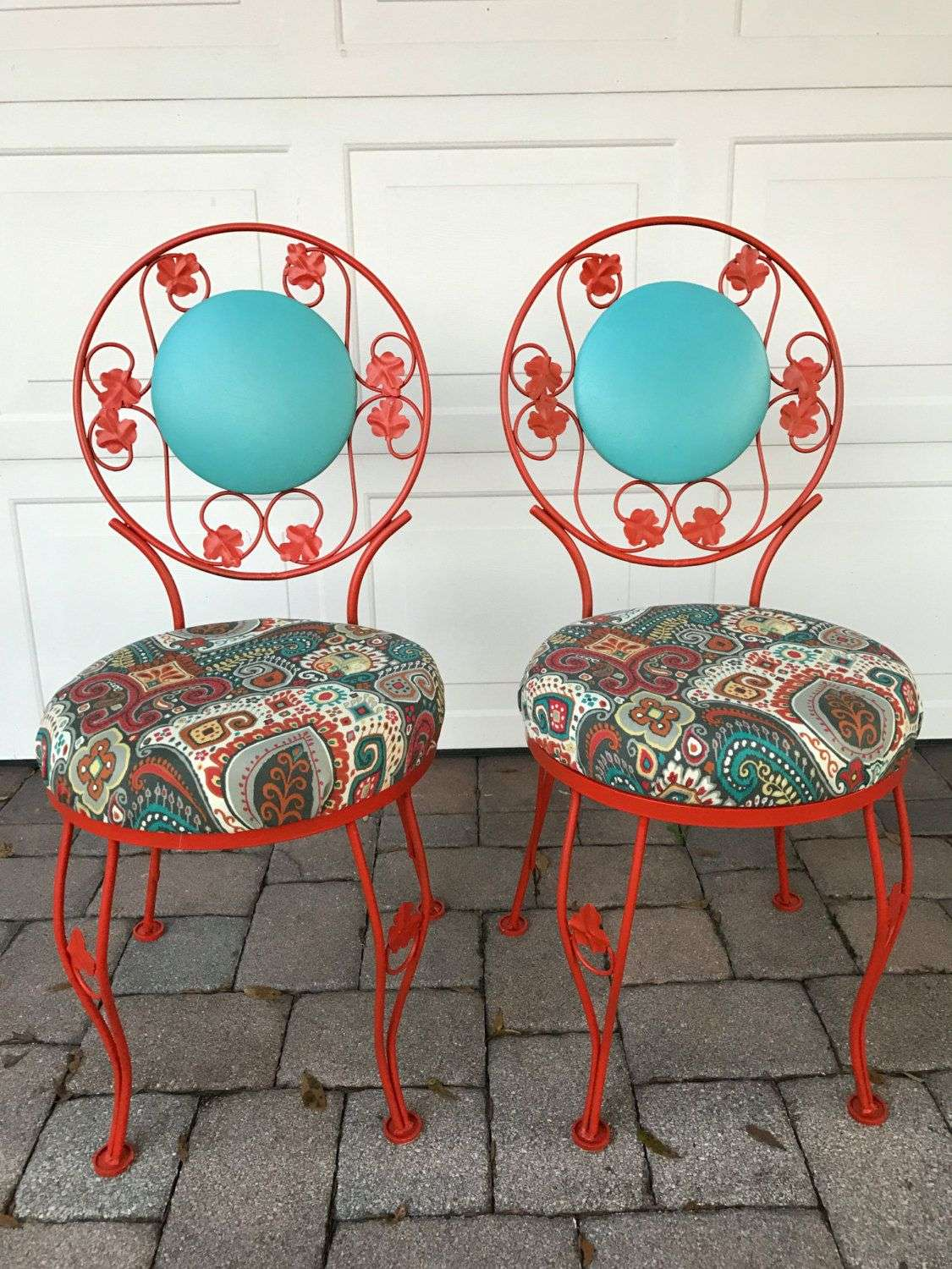Vintage Wrought Iron and Turquoise Vinyl Patio Chairs by ...